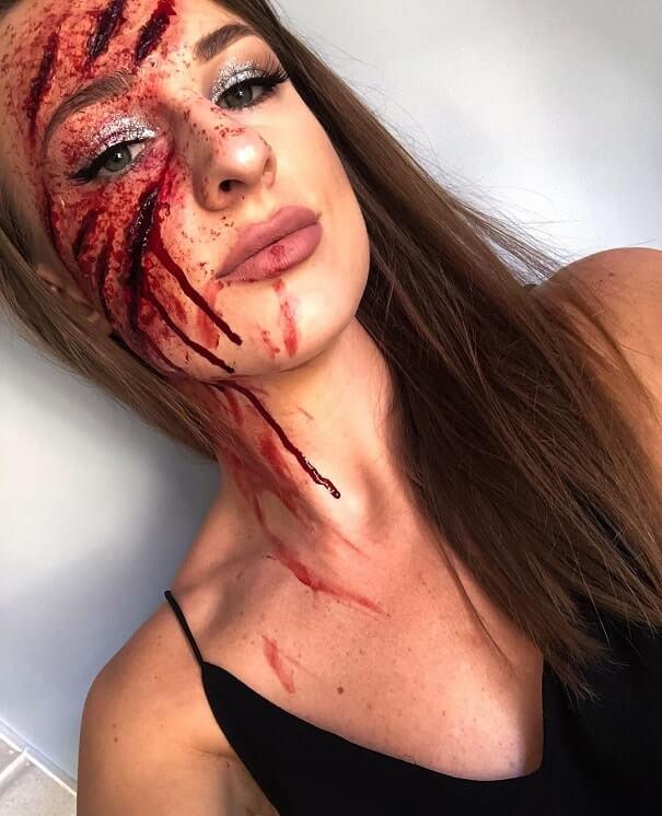 fake wounds halloween makeup tutorial 1
