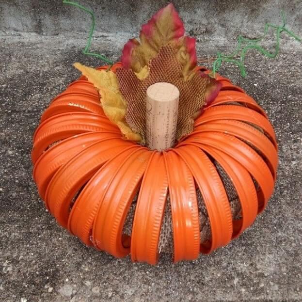 mason jar lid pumpkin decoration ideas 4