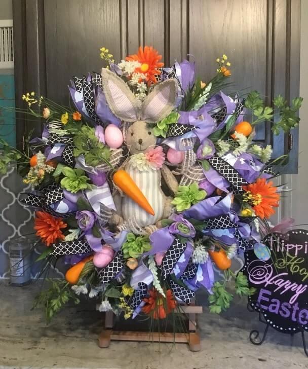 Farmhouse easter Wreath for Easter Wreath for Spring Spring Wreath Easter Bunny Wreath Deco Mesh Wreath, Wreath Rustic Easter wreath