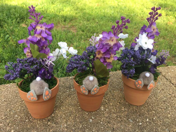easter craft bunny butt flower pots 3