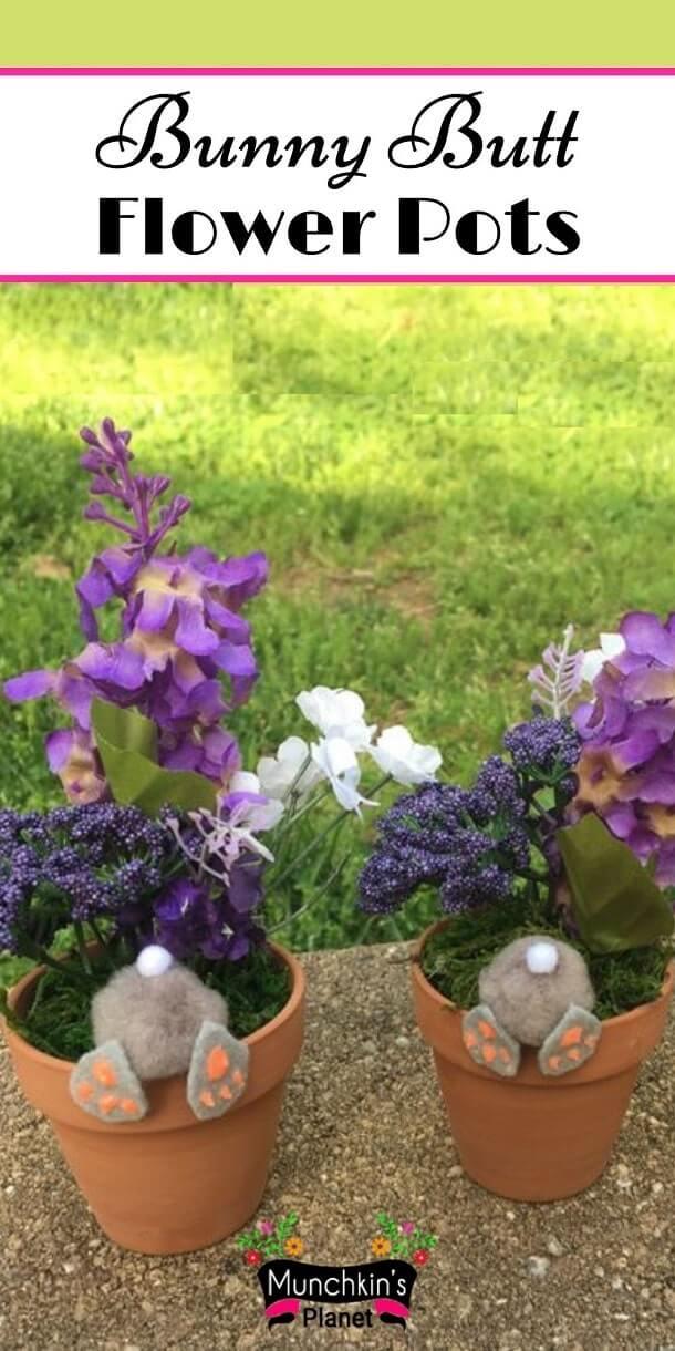 easter craft bunny butt flower pots