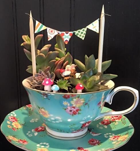 Fairy tea cup and saucer miniature garden