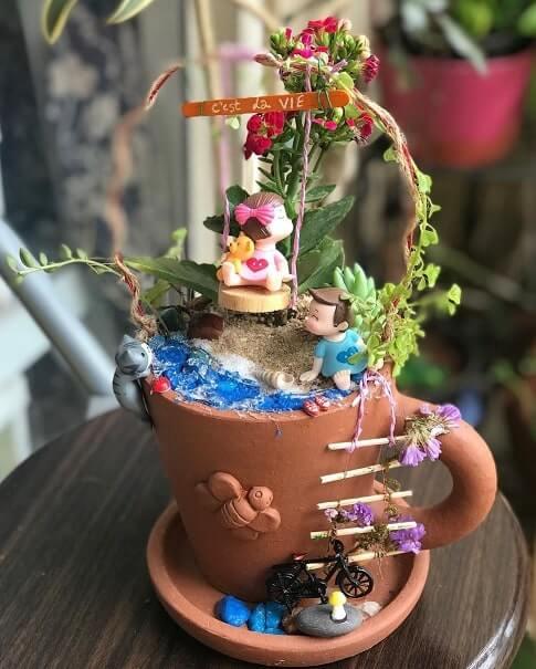 vintage teacup fairy garden