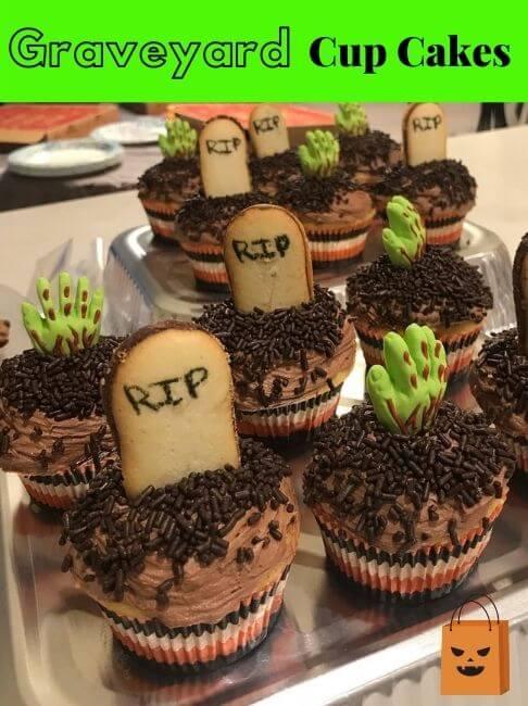 spooky graveyard cupcakes